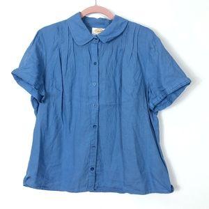 Talbots Petites IRISH Linen Button Blouse XL Blue